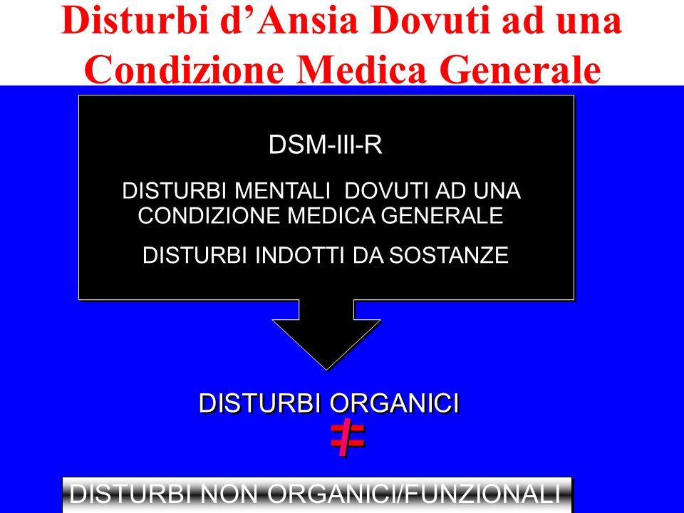 DISTURBI MENTALI DOVUTI AD UNA CONDIZIONE MEDICA GENERALE DISTURBI INDOTTI DA SOSTANZE DISTURBI ORGANICI DSM-III-R DISTURBI NON ORGANICI/FUNZIONALI =
