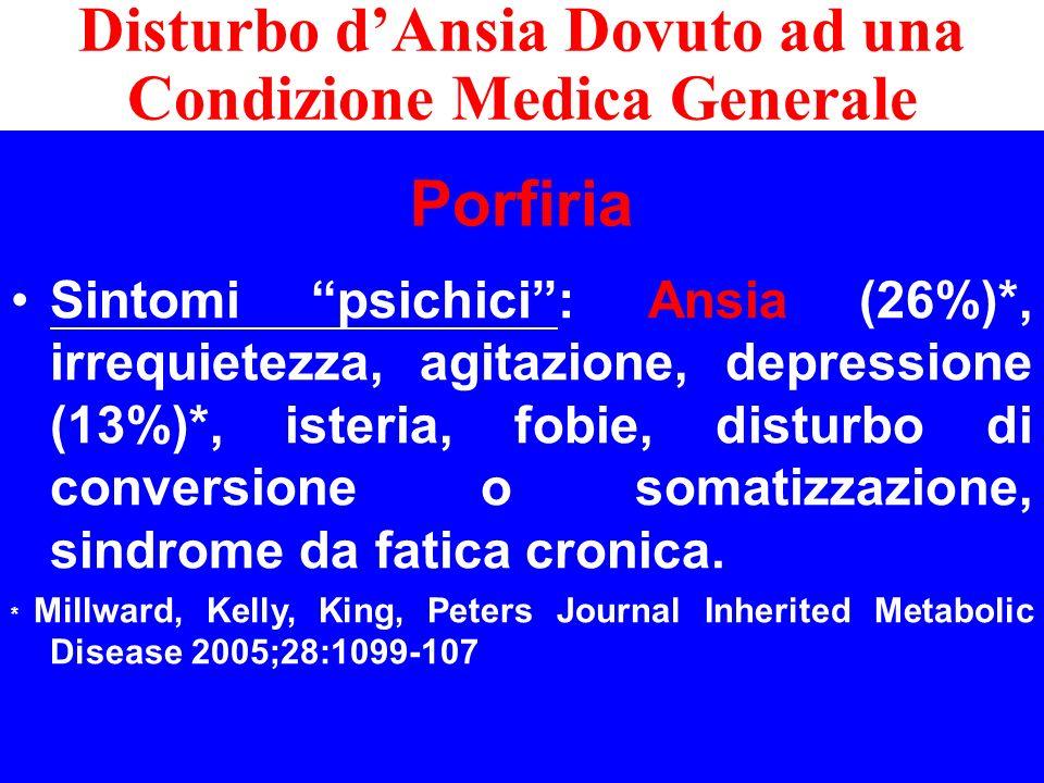 Porfiria Sintomi psichici: Ansia (26%)*, irrequietezza, agitazione, depressione (13%)*, isteria, fobie, disturbo di conversione o somatizzazione, sind