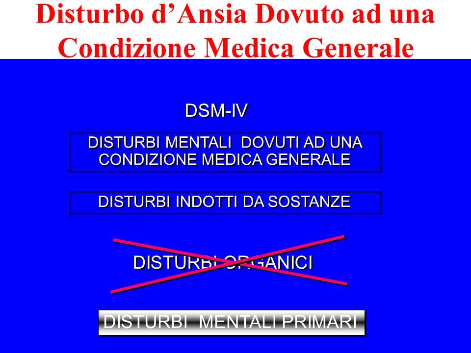 Disturbo dAnsia Dovuto ad una Condizione Medica Generale DISTURBI MENTALI DOVUTI AD UNA CONDIZIONE MEDICA GENERALE DISTURBI INDOTTI DA SOSTANZE DISTUR