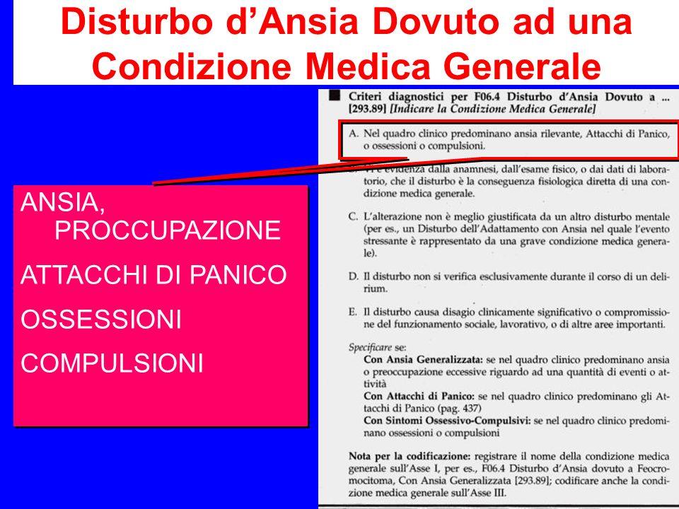 Disturbo dAnsia Dovuto ad una Condizione Medica Generale ANSIA, PROCCUPAZIONE ATTACCHI DI PANICO OSSESSIONI COMPULSIONI ANSIA, PROCCUPAZIONE ATTACCHI