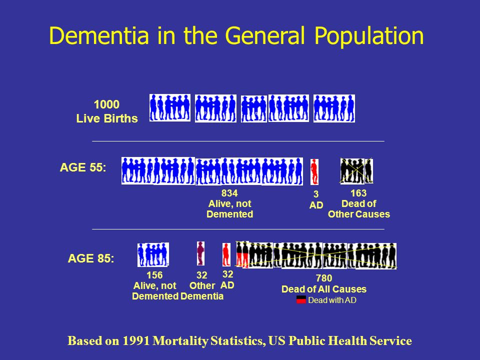 APOE-e4/e4 and Dementia 1000 APOE- 4/4 AGE 55: 835 Alive, not Demented 163 Dead 2 Alzheimer s AGE 85: 883 Dead of All Causes Dead with AD 102 AD 13 Alive, not Demented 2 Other Dementia