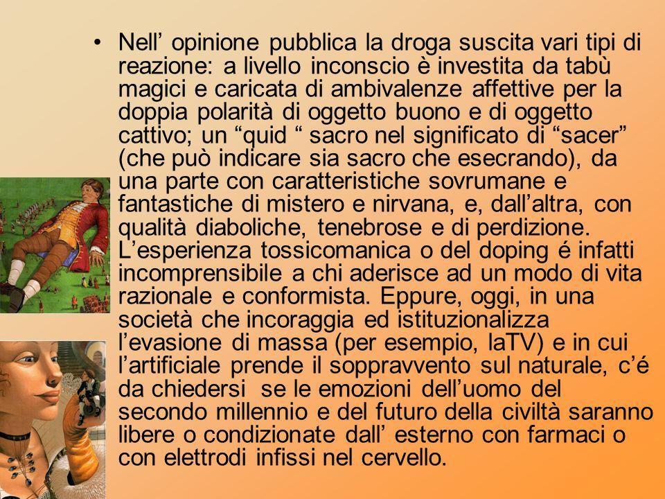Nell opinione pubblica la droga suscita vari tipi di reazione: a livello inconscio è investita da tabù magici e caricata di ambivalenze affettive per