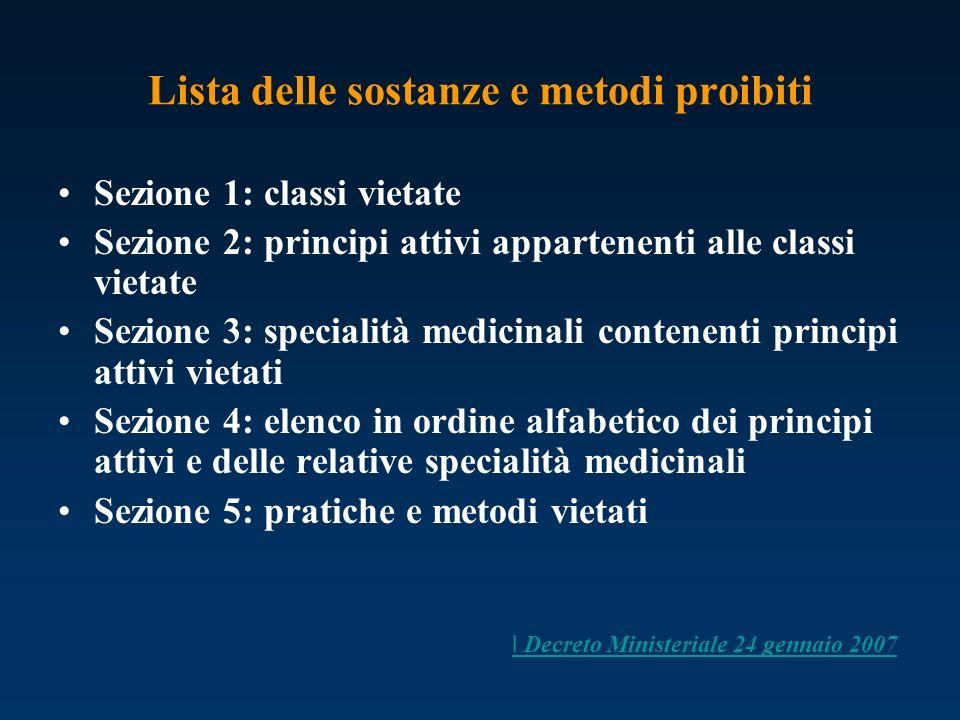 Lista delle sostanze e metodi proibiti Sezione 1: classi vietate Sezione 2: principi attivi appartenenti alle classi vietate Sezione 3: specialità med