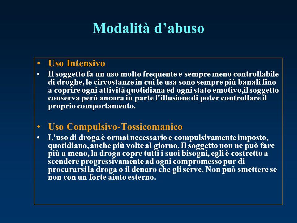 Modalità dabuso Uso Intensivo Il soggetto fa un uso molto frequente e sempre meno controllabile di droghe, le circostanze in cui le usa sono sempre pi