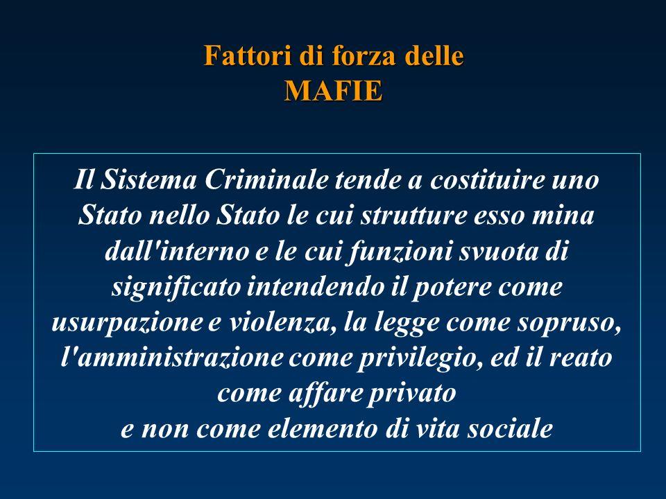 Il Sistema Criminale tende a costituire uno Stato nello Stato le cui strutture esso mina dall'interno e le cui funzioni svuota di significato intenden