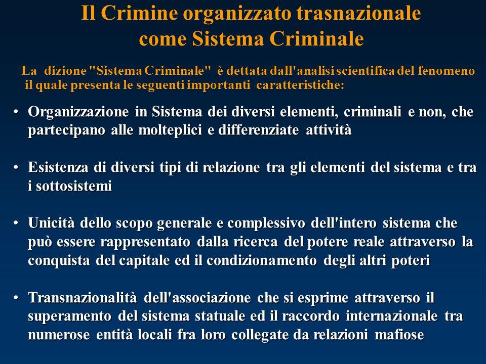 Il Crimine organizzato trasnazionale come Sistema Criminale La dizione