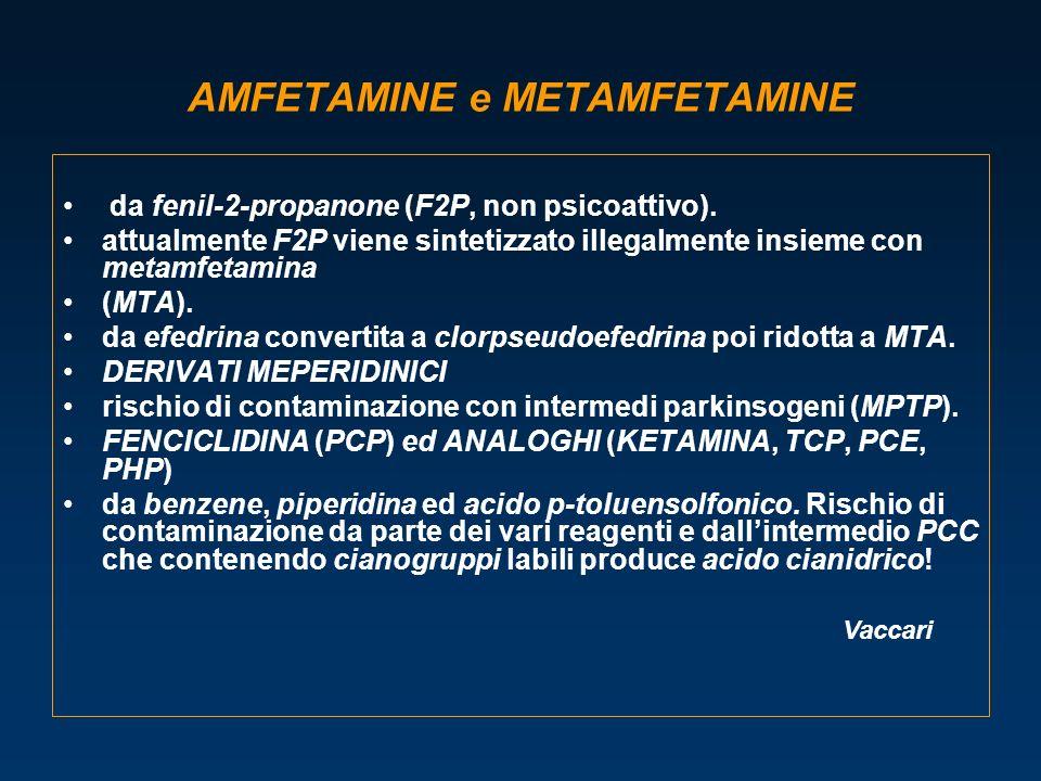 AMFETAMINE e METAMFETAMINE da fenil-2-propanone (F2P, non psicoattivo). attualmente F2P viene sintetizzato illegalmente insieme con metamfetamina (MTA
