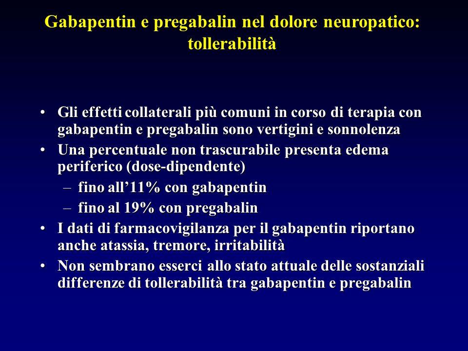 Gli effetti collaterali più comuni in corso di terapia con gabapentin e pregabalin sono vertigini e sonnolenzaGli effetti collaterali più comuni in co