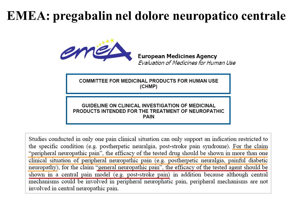 EMEA: pregabalin nel dolore neuropatico centrale European Medicines Agency Evaluation of Medicines for Human Use