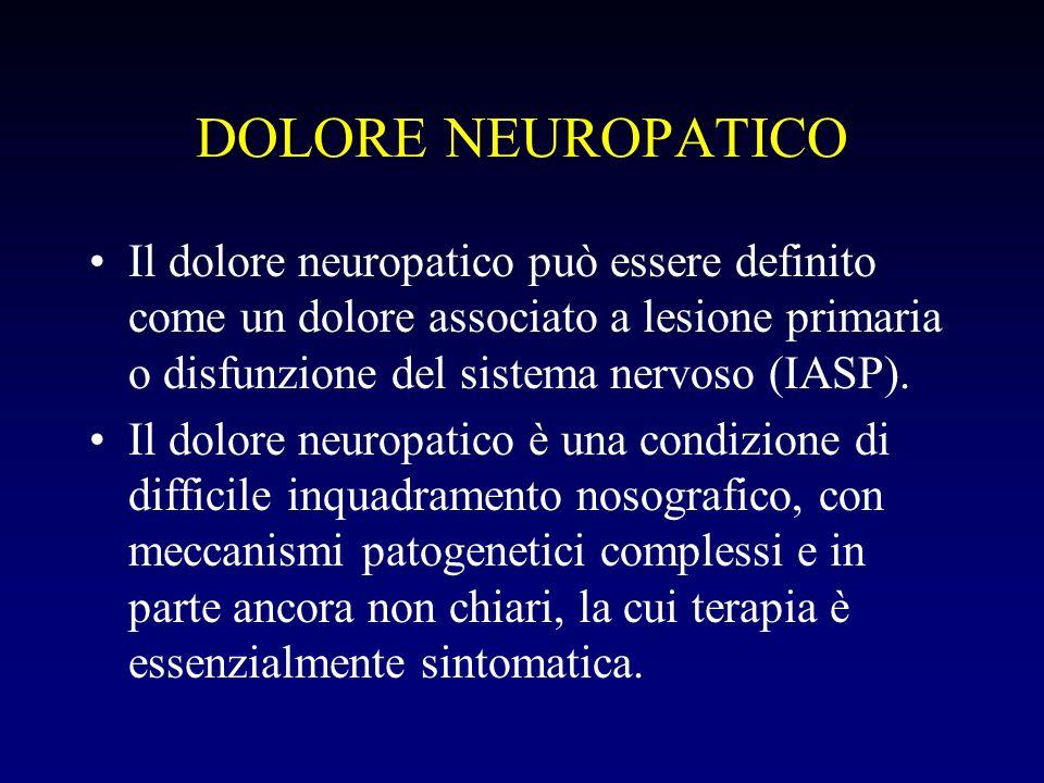 DOLORE NEUROPATICO Il dolore neuropatico può essere definito come un dolore associato a lesione primaria o disfunzione del sistema nervoso (IASP). Il