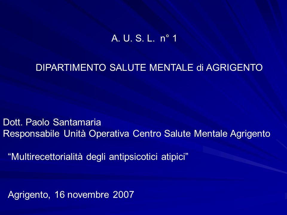 A. U. S. L. n° 1 DIPARTIMENTO SALUTE MENTALE di AGRIGENTO Dott. Paolo Santamaria Responsabile Unità Operativa Centro Salute Mentale Agrigento Multirec