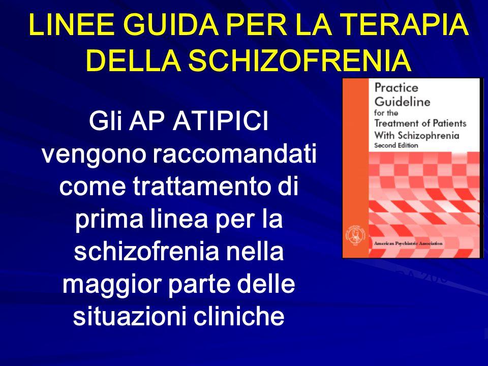 APA 2004 LINEE GUIDA PER LA TERAPIA DELLA SCHIZOFRENIA Gli AP ATIPICI vengono raccomandati come trattamento di prima linea per la schizofrenia nella m