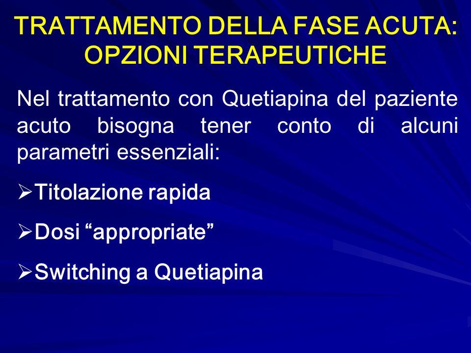 TRATTAMENTO DELLA FASE ACUTA: OPZIONI TERAPEUTICHE Nel trattamento con Quetiapina del paziente acuto bisogna tener conto di alcuni parametri essenzial