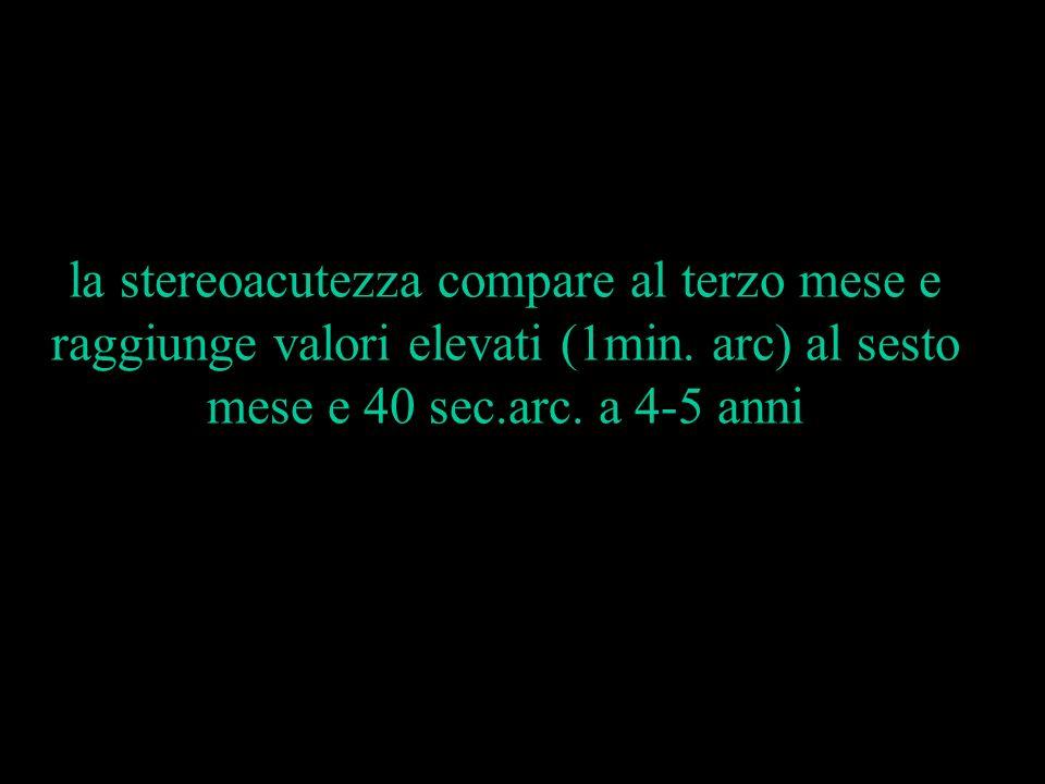 la stereoacutezza compare al terzo mese e raggiunge valori elevati (1min. arc) al sesto mese e 40 sec.arc. a 4-5 anni