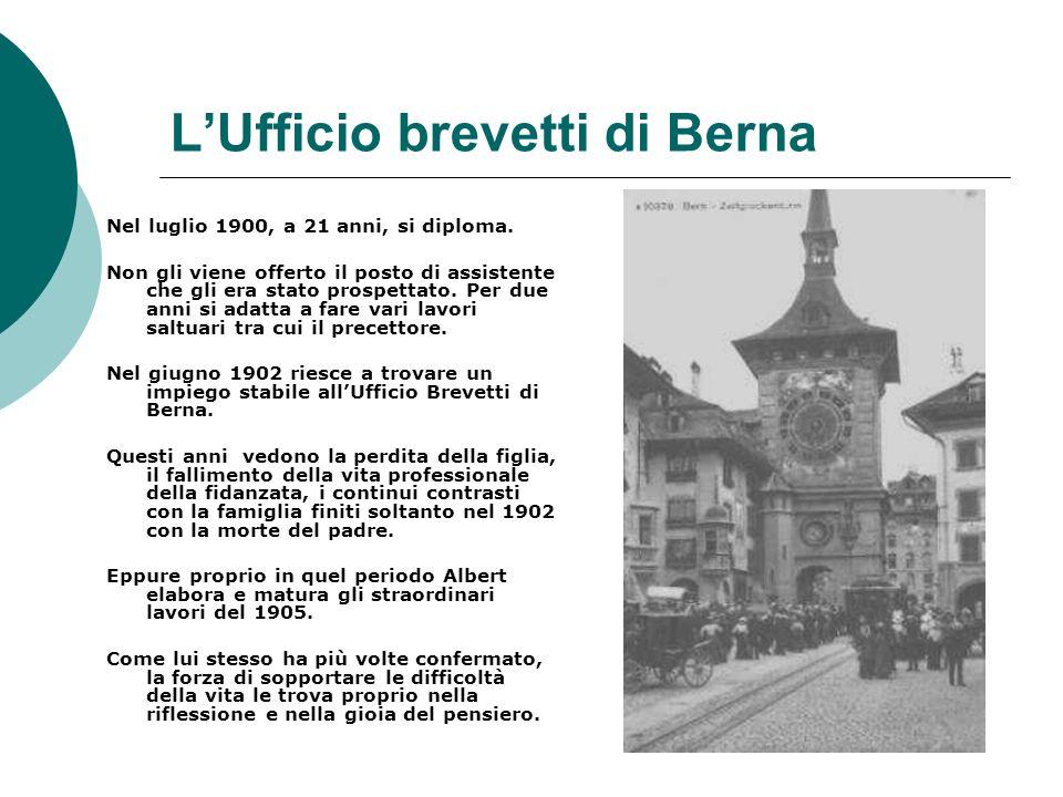 LUfficio brevetti di Berna Nel luglio 1900, a 21 anni, si diploma.