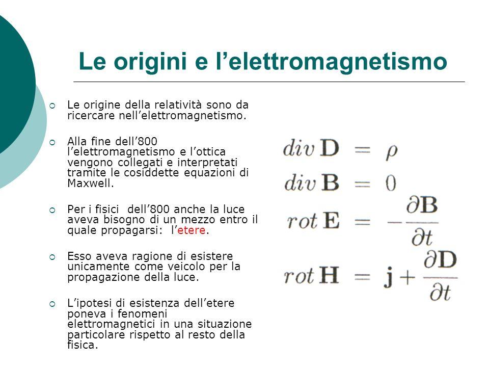 Le origini e lelettromagnetismo Le origine della relatività sono da ricercare nellelettromagnetismo.