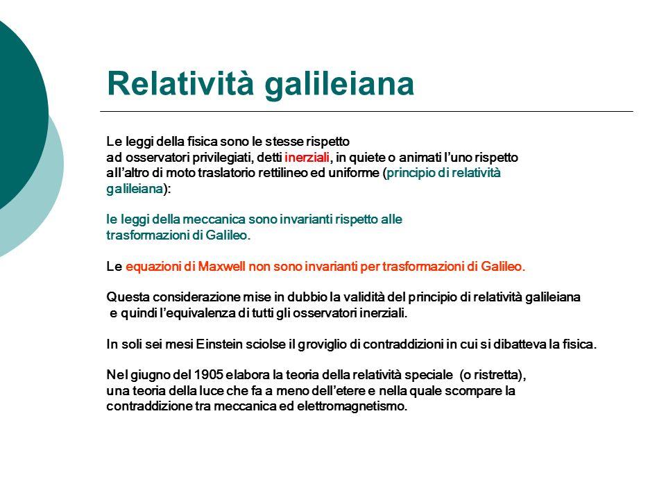 Relatività galileiana Le leggi della fisica sono le stesse rispetto ad osservatori privilegiati, detti inerziali, in quiete o animati luno rispetto allaltro di moto traslatorio rettilineo ed uniforme (principio di relatività galileiana): le leggi della meccanica sono invarianti rispetto alle trasformazioni di Galileo.