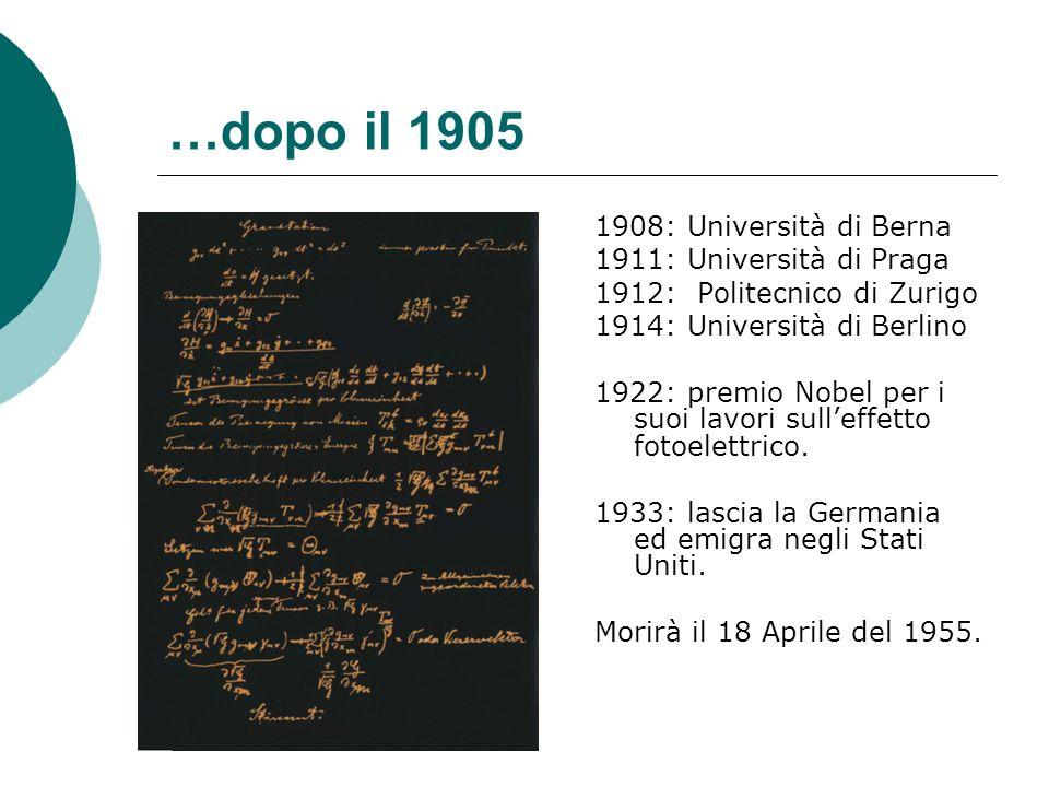 …dopo il 1905 1908: Università di Berna 1911: Università di Praga 1912: Politecnico di Zurigo 1914: Università di Berlino 1922: premio Nobel per i suoi lavori sulleffetto fotoelettrico.