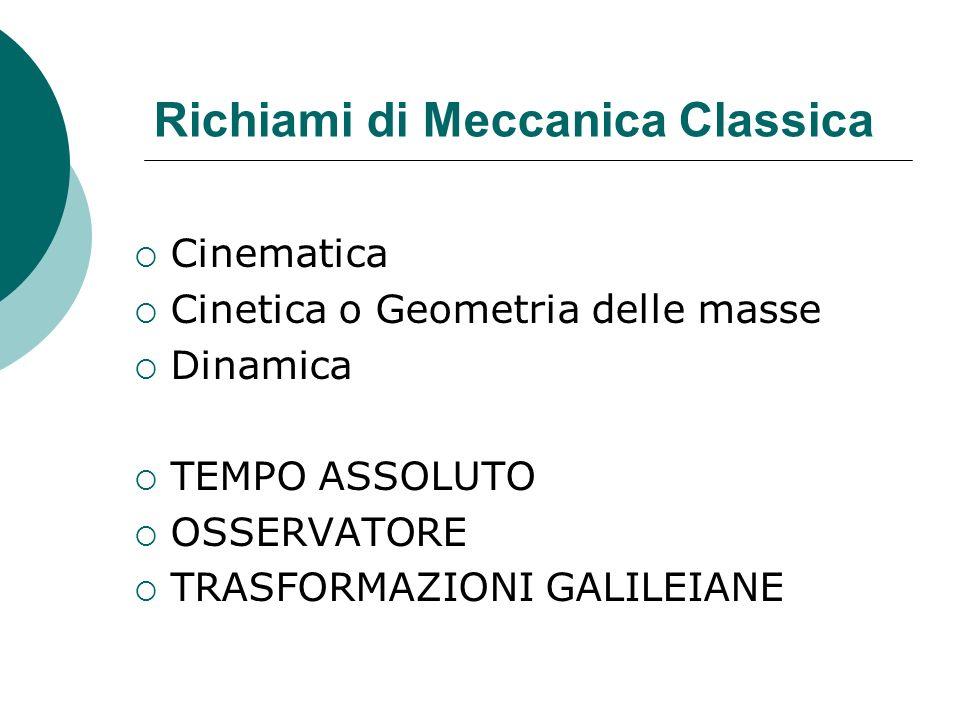 Richiami di Meccanica Classica Cinematica Cinetica o Geometria delle masse Dinamica TEMPO ASSOLUTO OSSERVATORE TRASFORMAZIONI GALILEIANE