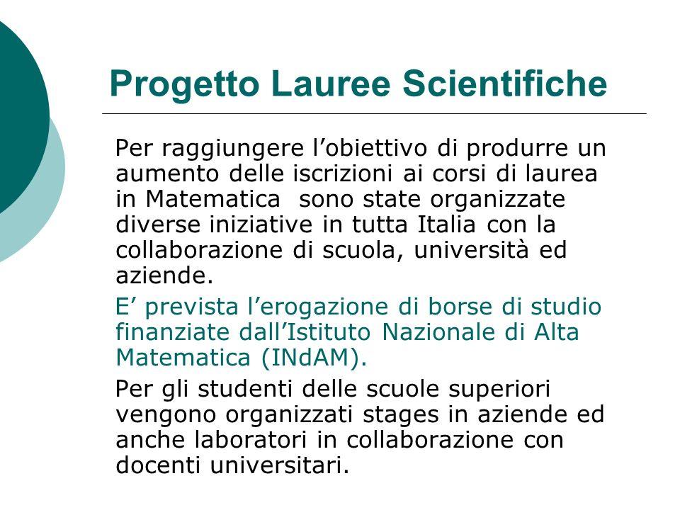Progetto Lauree Scientifiche Per raggiungere lobiettivo di produrre un aumento delle iscrizioni ai corsi di laurea in Matematica sono state organizzate diverse iniziative in tutta Italia con la collaborazione di scuola, università ed aziende.