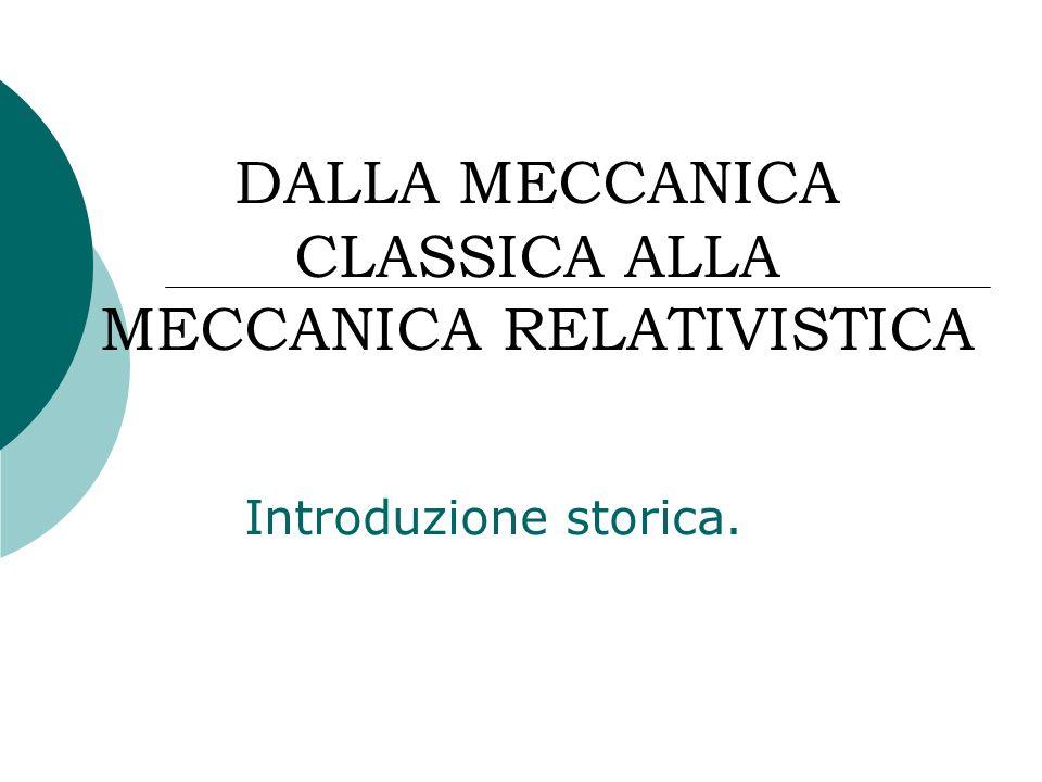 DALLA MECCANICA CLASSICA ALLA MECCANICA RELATIVISTICA Introduzione storica.