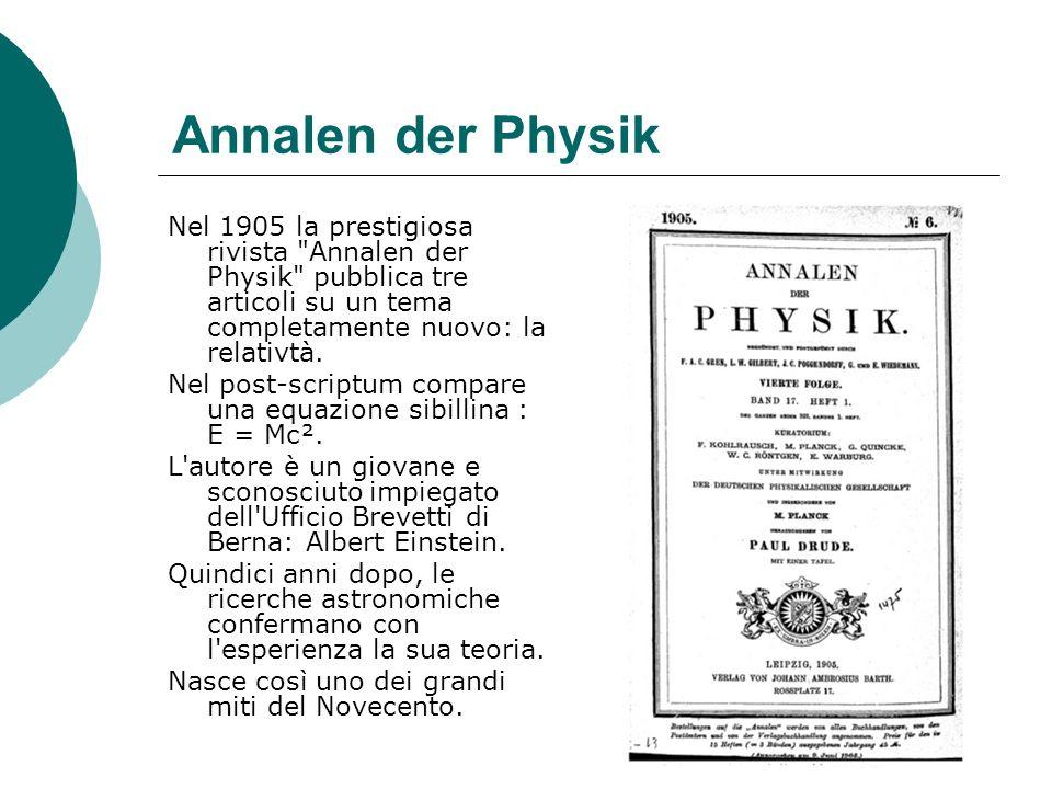 Annalen der Physik Nel 1905 la prestigiosa rivista Annalen der Physik pubblica tre articoli su un tema completamente nuovo: la relativtà.