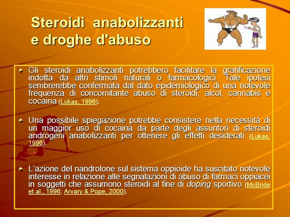 Steroidi anabolizzanti e droghe d'abuso Gli steroidi anabolizzanti potrebbero facilitare la gratificazione indotta da altri stimoli naturali o farmaco