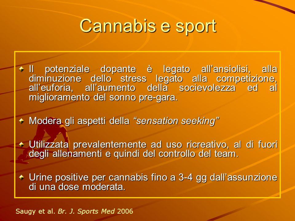 Cannabis e sport Il potenziale dopante è legato allansiolisi, alla diminuzione dello stress legato alla competizione, alleuforia, allaumento della soc