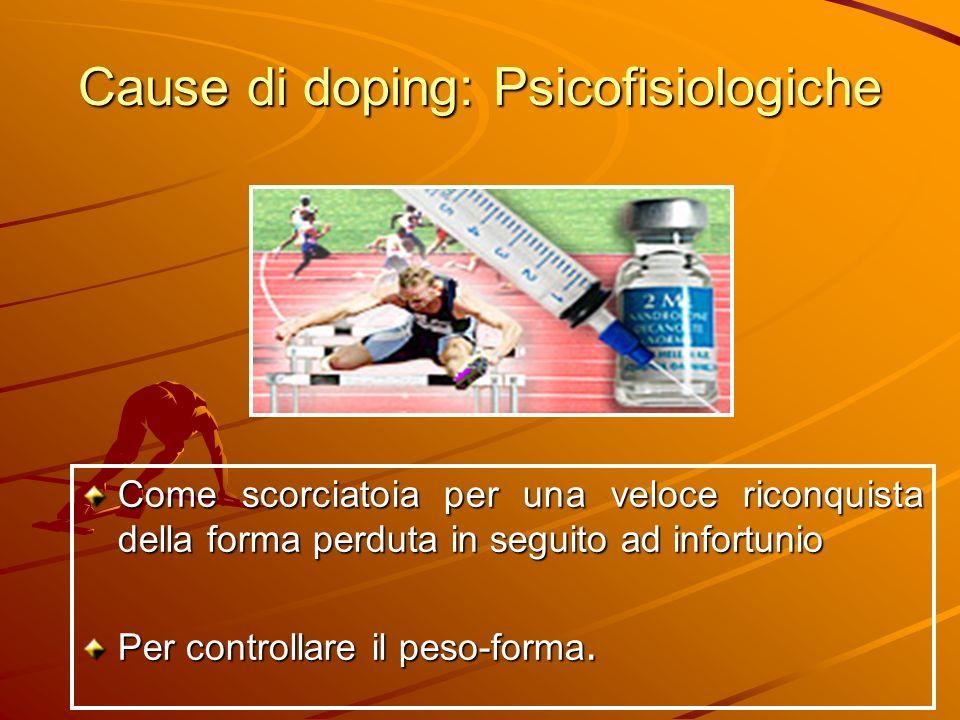 Cause di doping: Psicofisiologiche Come scorciatoia per una veloce riconquista della forma perduta in seguito ad infortunio Per controllare il peso-fo