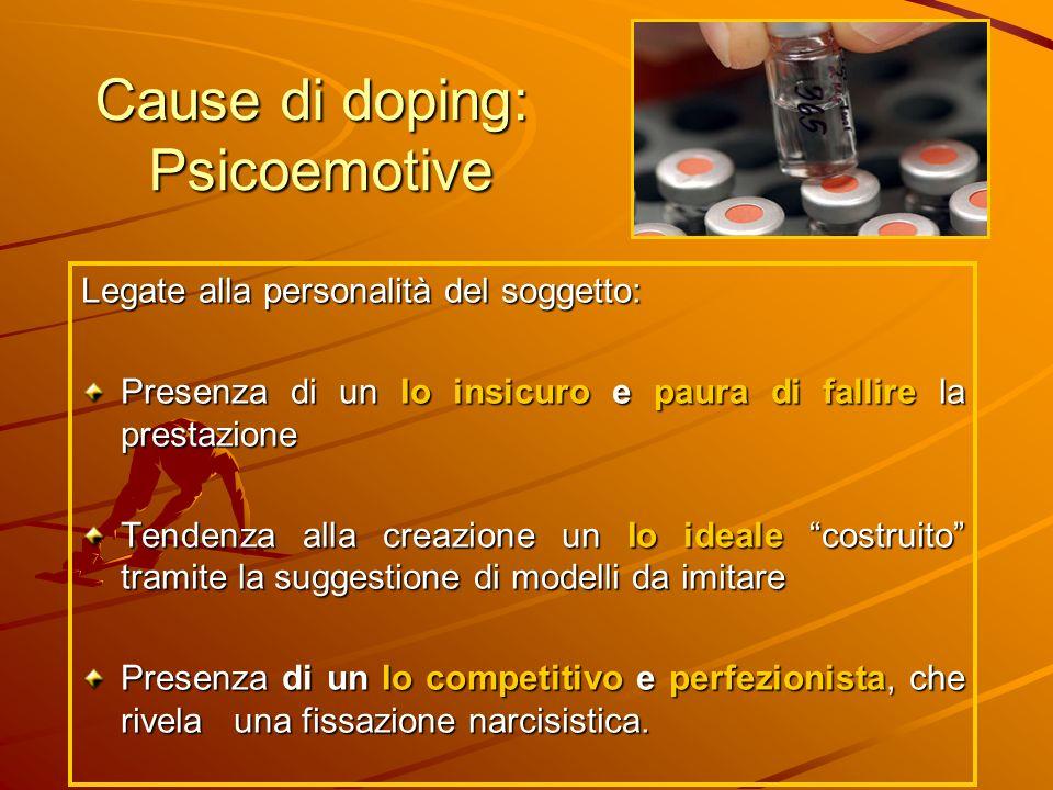 Cause di doping: Psicoemotive Legate alla personalità del soggetto: Presenza di un Io insicuro e paura di fallire la prestazione Tendenza alla creazio