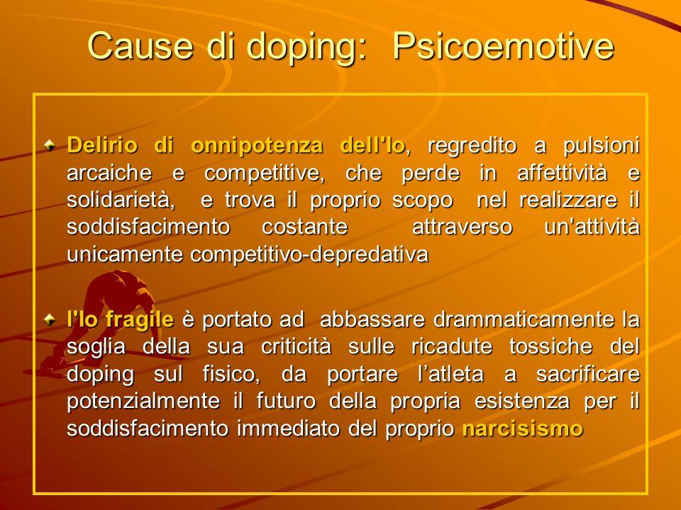 Cause di doping: Psicoemotive Delirio di onnipotenza dell'Io, regredito a pulsioni arcaiche e competitive, che perde in affettività e solidarietà, e t