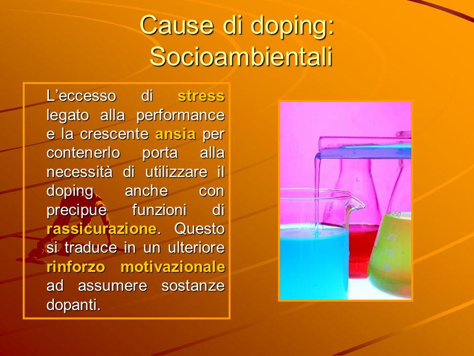 Cause di doping: Socioambientali Leccesso di stress legato alla performance e la crescente ansia per contenerlo porta alla necessità di utilizzare il