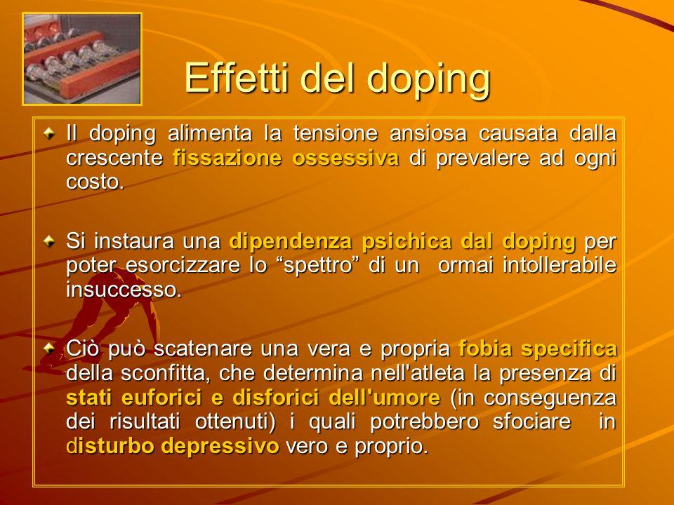 Effetti del doping Il doping alimenta la tensione ansiosa causata dalla crescente fissazione ossessiva di prevalere ad ogni costo. Si instaura una dip