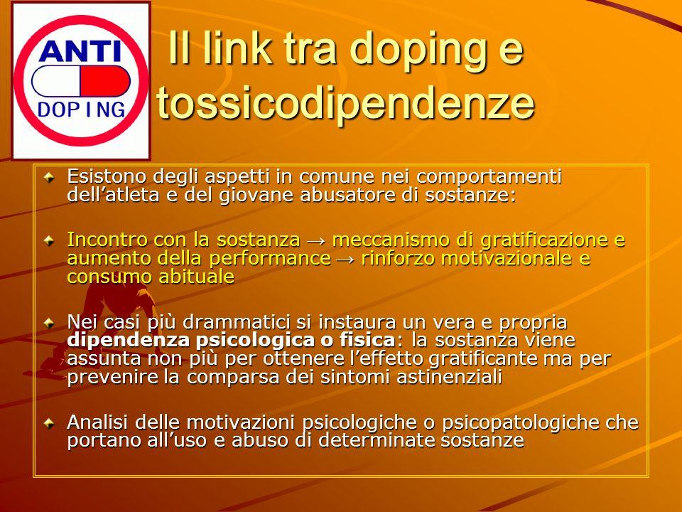 Il link tra doping e tossicodipendenze Esistono degli aspetti in comune nei comportamenti dellatleta e del giovane abusatore di sostanze: Incontro con