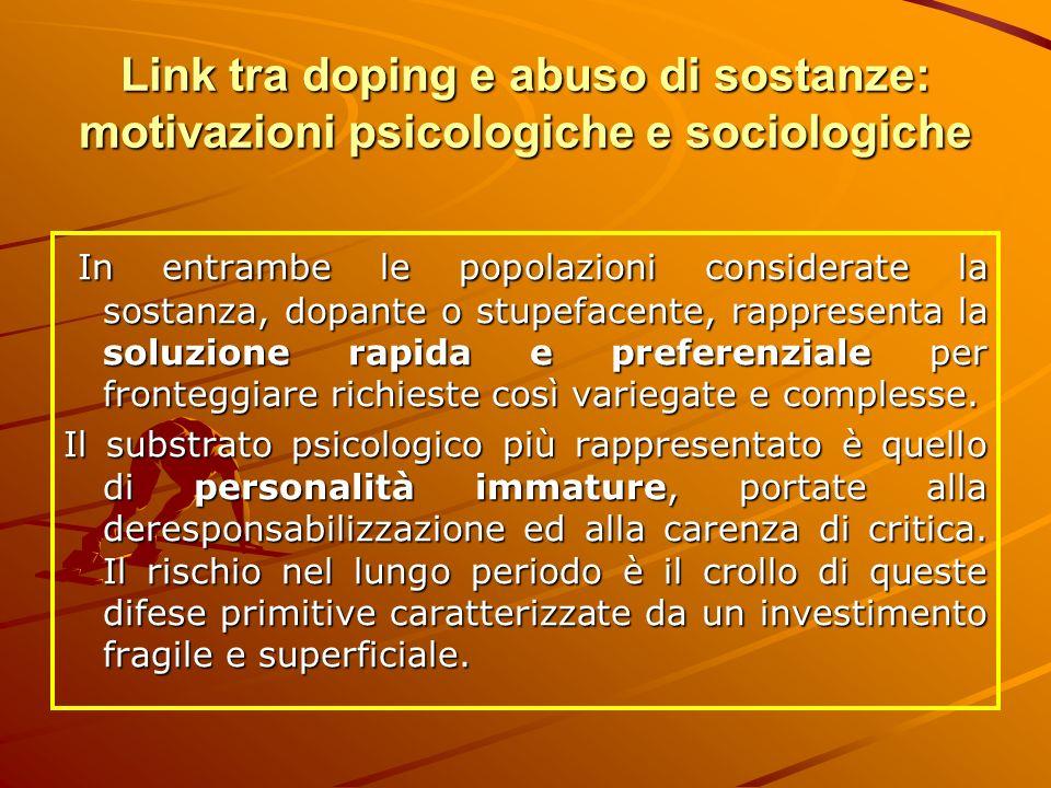 Link tra doping e abuso di sostanze: motivazioni psicologiche e sociologiche In entrambe le popolazioni considerate la sostanza, dopante o stupefacent