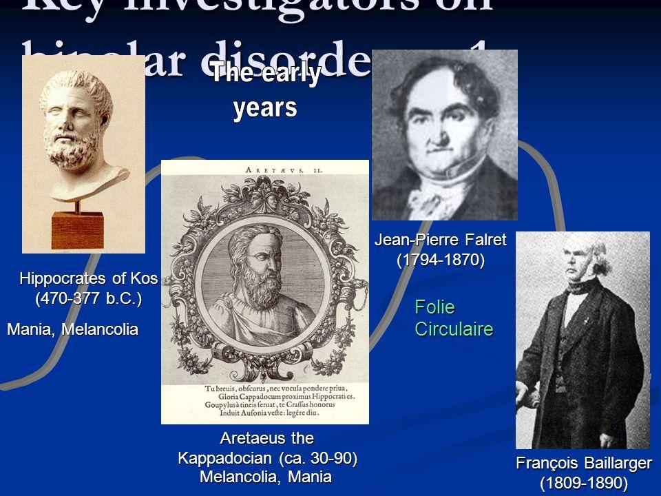 Key investigators on bipolar disorders – 1 Hippocrates of Kos (470-377 b.C.) Aretaeus the Kappadocian (ca.