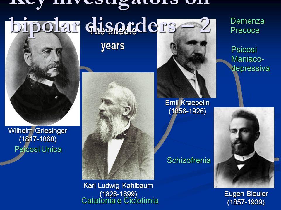 Wilhelm Griesinger (1817-1868) Karl Ludwig Kahlbaum (1828-1899) Eugen Bleuler (1857-1939) Emil Kraepelin (1856-1926) Key investigators on bipolar disorders – 2 Psicosi Unica Catatonia e Ciclotimia Schizofrenia DemenzaPrecoce PsicosiManiaco-depressiva