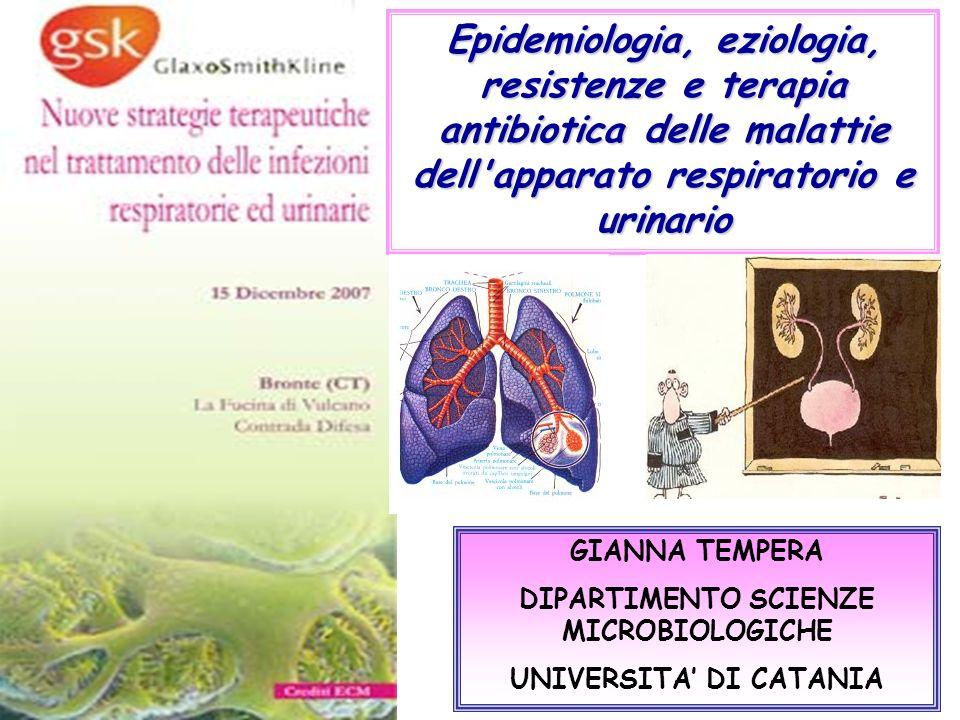 GIANNA TEMPERA DIPARTIMENTO SCIENZE MICROBIOLOGICHE UNIVERSITA DI CATANIA Epidemiologia, eziologia, resistenze e terapia antibiotica delle malattie de