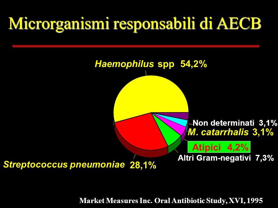 Microrganismi responsabili di AECB Haemophilus spp 54,2% M. catarrhalis 3,1% 28,1% Altri Gram-negativi 7,3% Atipici 4,2% Non determinati 3,1% Streptoc
