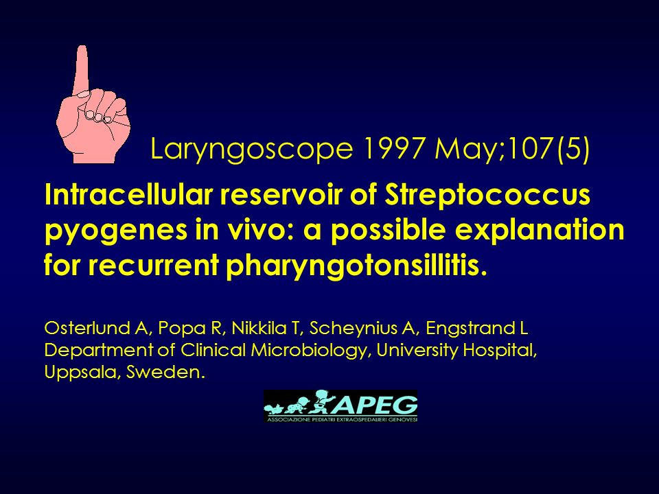 Laryngoscope 1997 May;107(5) Intracellular reservoir of Streptococcus pyogenes in vivo: a possible explanation for recurrent pharyngotonsillitis. Oste