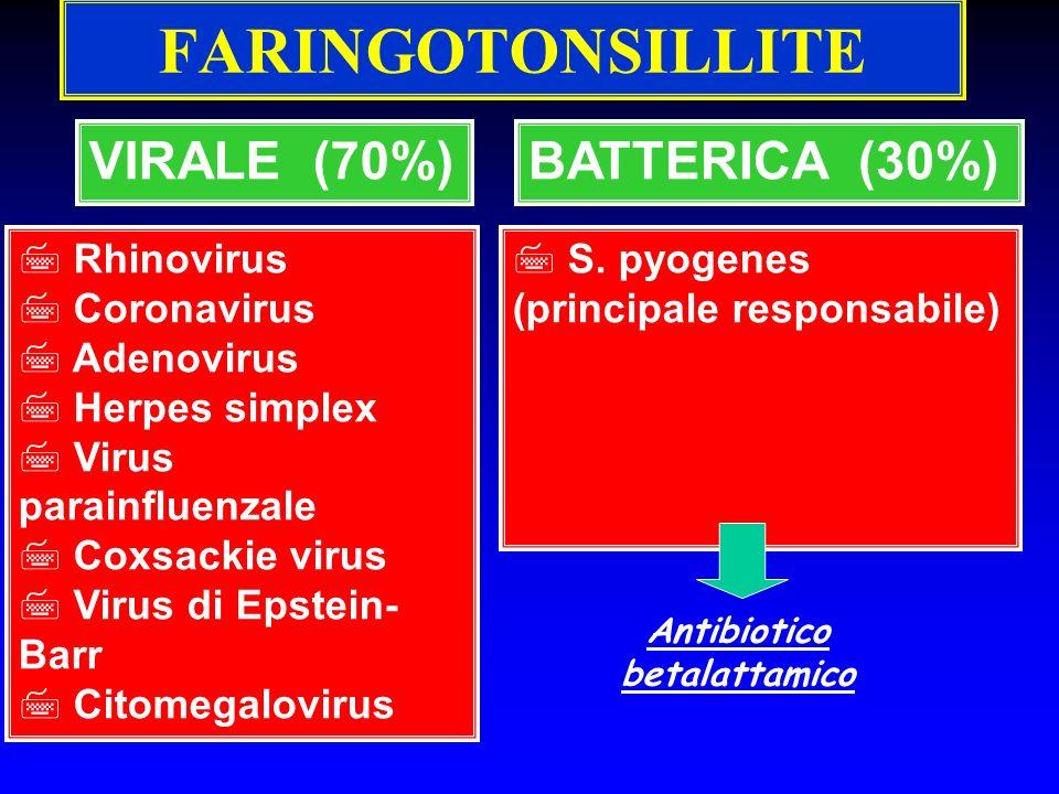 FARINGOTONSILLITE VIRALE (70%) 7 Rhinovirus 7 Coronavirus 7 Adenovirus 7 Herpes simplex 7 Virus parainfluenzale 7 Coxsackie virus 7 Virus di Epstein-