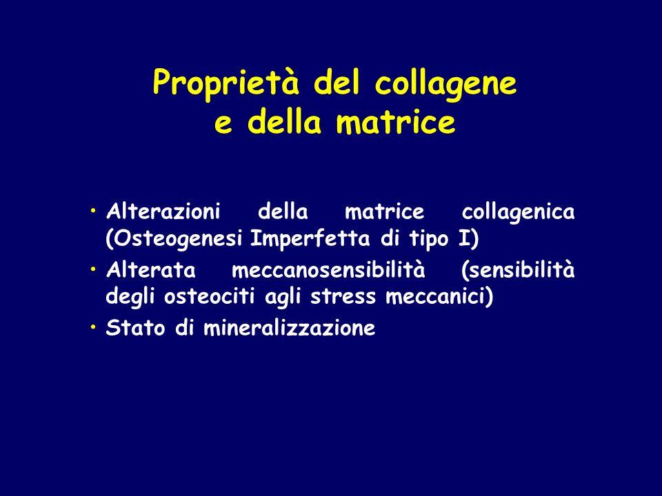 Alterazioni della matrice collagenica (Osteogenesi Imperfetta di tipo I) Alterata meccanosensibilità (sensibilità degli osteociti agli stress meccanic