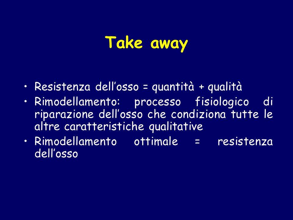 Take away Resistenza dellosso = quantità + qualità Rimodellamento: processo fisiologico di riparazione dellosso che condiziona tutte le altre caratter