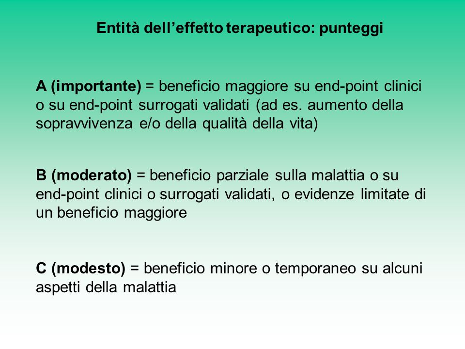 Entità delleffetto terapeutico: punteggi A (importante) = beneficio maggiore su end-point clinici o su end-point surrogati validati (ad es. aumento de