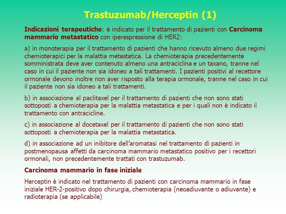 Trastuzumab/Herceptin (1) Indicazioni terapeutiche: è indicato per il trattamento di pazienti con Carcinoma mammario metastatico con iperespressione d