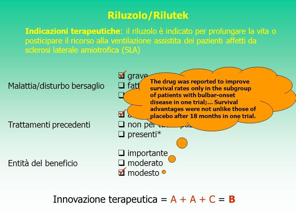 Riluzolo/Rilutek Indicazioni terapeutiche: il riluzolo è indicato per prolungare la vita o posticipare il ricorso alla ventilazione assistita dei pazi