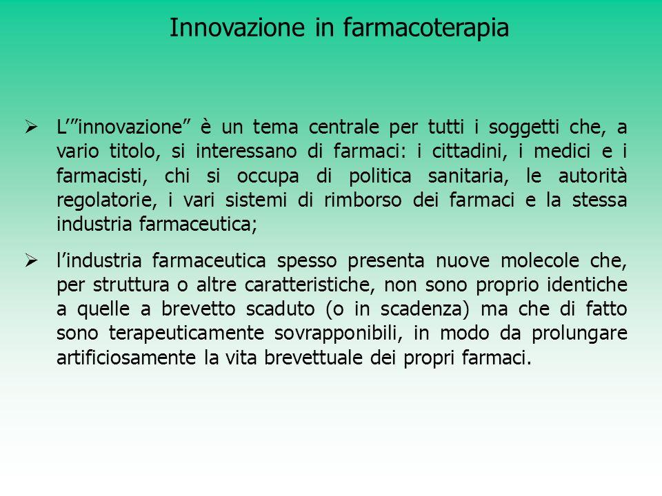 Motola D et al., Br J Clin Pharmacol 2006 ;62:610-6 Innovazione terapeutica: Br J Clin Pharmacol 2006