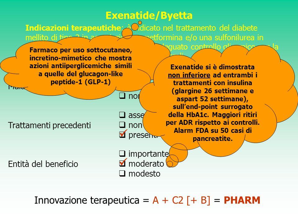 Exenatide/Byetta Indicazioni terapeutiche: è indicato nel trattamento del diabete mellito di tipo 2 in associazione a metformina e/o una sulfonilurea