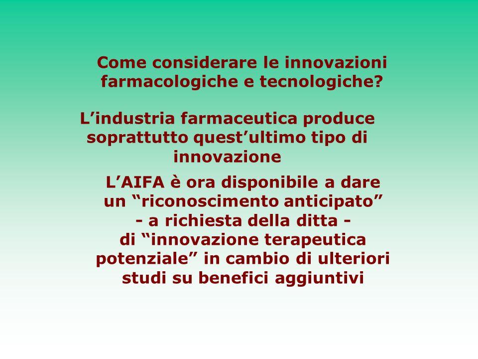 Come considerare le innovazioni farmacologiche e tecnologiche? Lindustria farmaceutica produce soprattutto questultimo tipo di innovazione LAIFA è ora