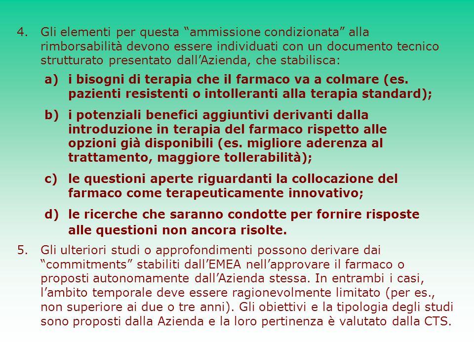 4.Gli elementi per questa ammissione condizionata alla rimborsabilità devono essere individuati con un documento tecnico strutturato presentato dallAz